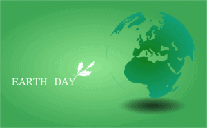 Green Earth Day poster with globe