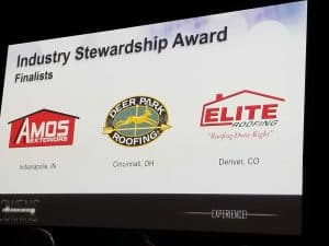 Elite Roofing Named Finalist for 2018 Owens Corning Industry Stewardship Award