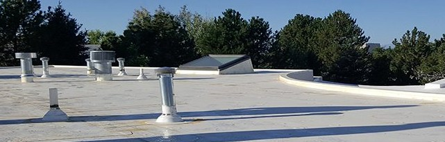 White tpo commercial roof by Elite Roofing in Denver.