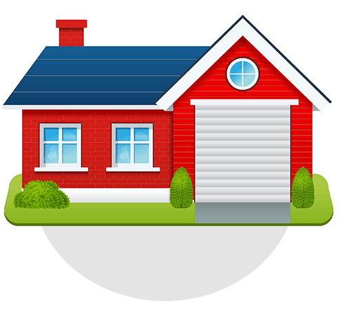 Illustration of a red house for Elite Roofing.